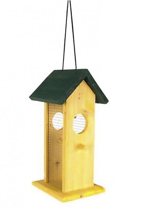 Vogelfutterhaus, gelb mit grünem Dach