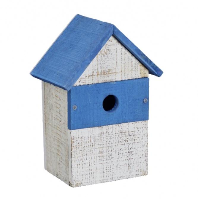 Attraktives Vogelhaus weiß-blau